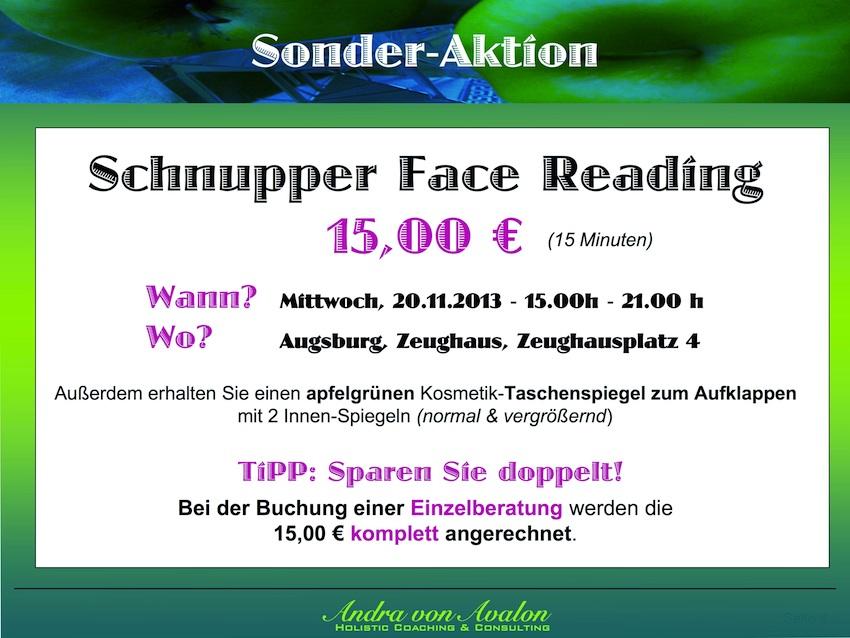 Sonderaktion - Schnupper Face Reading im Zeughaus