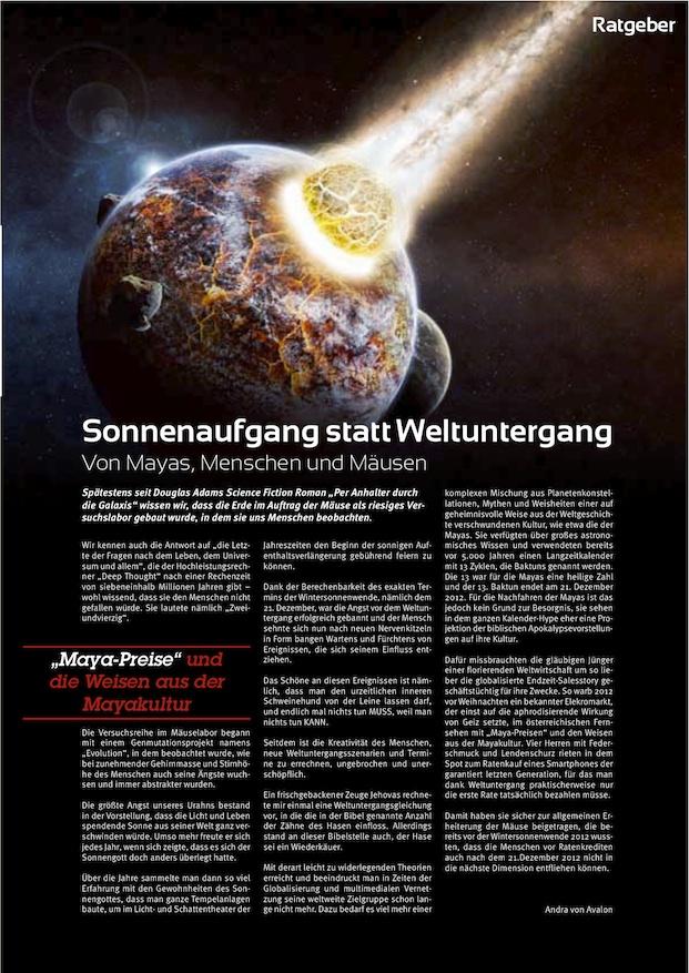 """Andra von Avalon's Arikel """"Sonnenaufgang statt Weltuntergang"""" in der Januar 2013 Ausgabe von TrendyOne"""