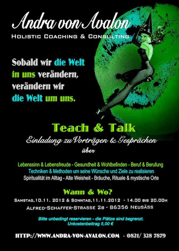 "Einladung zu ""Teach & Talk"" mit Andra von Avalon in Green Witch Casle in Neusäß"