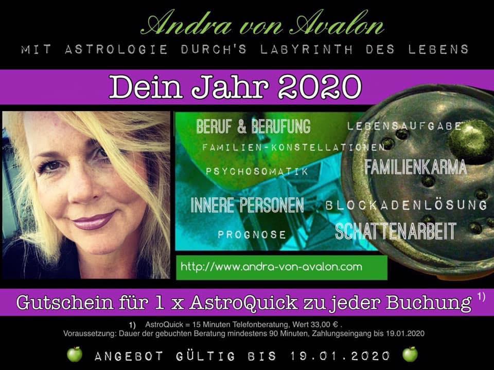 Neujahr 2020 - Angebot Astrologie - Astroquick-Gutschein bis 19.01.2020 zur Buchung einer regulären Beratung