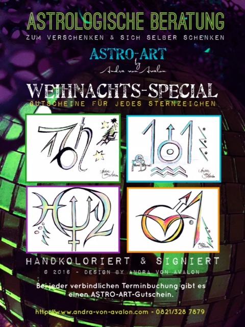 Astrologische Beratung - Weihnachtsangebot mit Astro ARt Gutscheinen, handkoloriert von Andra von AValon